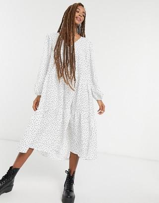 ASOS DESIGN textured tiered midi smock dress in polka dot