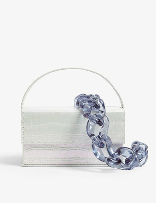 L'Afshar Ida small croc-embossed acrylic clutch bag