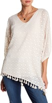 Democracy V-Neck 3/4 Sleeve Asymmetrical Fringe Hem Blouse