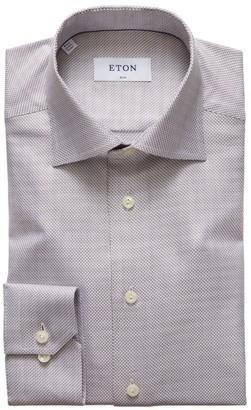 Eton Slim-Fit Textured Zigzag Twill Shirt