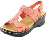 Clarks Lexi Walnut Open Toe Leather Wedge Sandal.