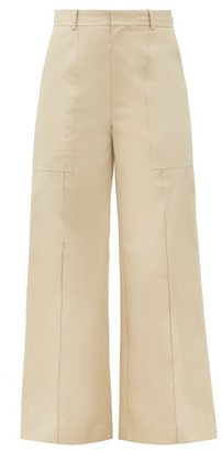 Co Patch-pocket Cotton-poplin Wide-leg Trousers - Cream