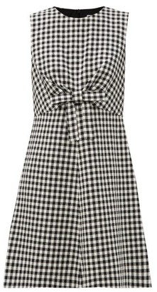 RED Valentino Bow-waist Houndstooth Mini Dress - White Black