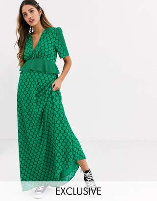 Twisted Wunder frill waist detail maxi dress in contrast green spot print