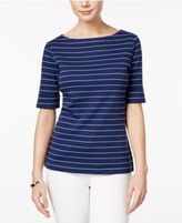 Karen Scott Elbow-Sleeve Striped Top, Only at Macy's