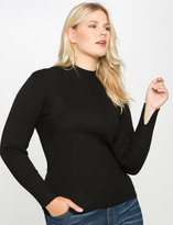 ELOQUII Plus Size Contrast Rib Knit Turtleneck