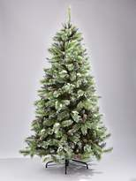 Very 7ft Artificial Flocked Christmas Tree with Pine Cones and White Berries