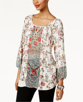 Style&Co. Style & Co Floral-Print Peasant Blouse, Only at Macy's