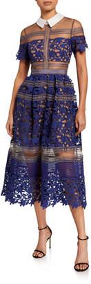 Self-Portrait Liliana Collared Lace Midi Dress