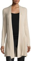 Neiman Marcus Pleated Long-Sleeve Open-Front Cardigan