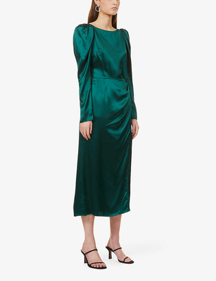 Reformation Cameron puff-shoulder silk midi dress