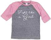 Urban Smalls Heather Gray & Pink 'Girl' Raglan Tee - Toddler & Girls