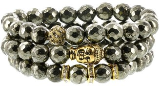 Fox and Baubles Pyrite, Polymer Crystal Bead, Brass Buddha and Crystal Spacers Beaded Stretch Bracelets