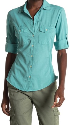James Perse Contrast Ribbed Surplus Shirt