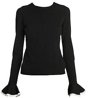 Valentino Women's Rib Knit Flounce Cuff Sweater