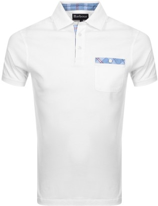Barbour Tartan Pocket Polo T Shirt White