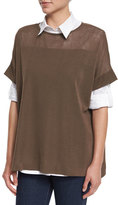 Misook Short-Sleeve Side-Button Tunic, Petite