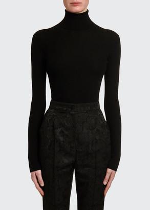 Dolce & Gabbana Cashmere-Silk Thin-Ribbed Turtleneck Sweater