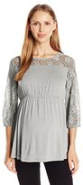 Three Seasons Maternity Women's Maternity 3/4 Lace Sleeve Yoke Solid Top