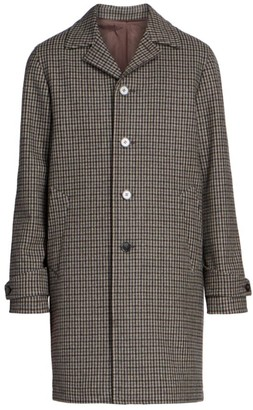 Officine Generale Plaid Check Wool-Blend Trench Coat