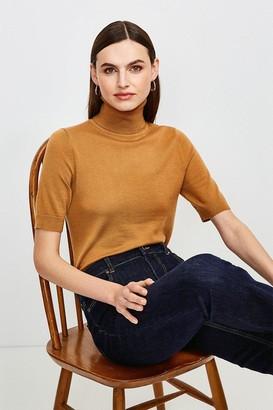 Karen Millen Merino Wool Short Sleeve Roll Neck Jumper