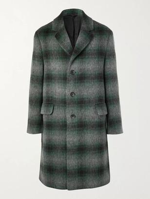 Mr P. Checked Brushed Virgin Wool And Llama Hair-Blend Coat