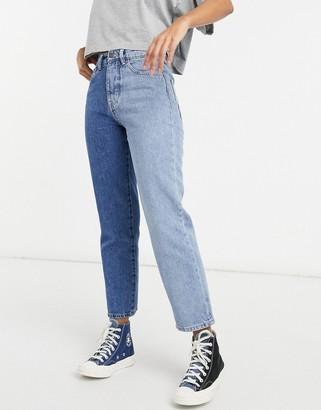 Stradivarius straight leg contrast two tone jeans in blue