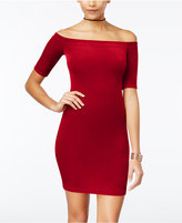 B. Darlin Juniors' Off-The-Shoulder Velvet Bodycon Dress