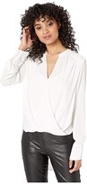 BCBGMAXAZRIA Jaklyn Draped Front Top (Alabaster) Women's Blouse