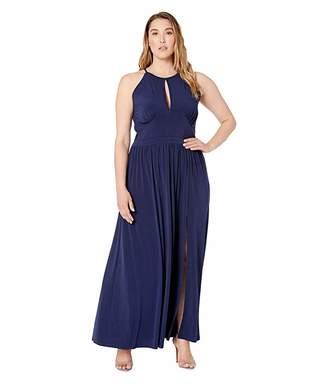 MICHAEL Michael Kors Plus Size Solid Halter Maxi Dress (True Navy) Women's Dress