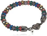 """Betsey Johnson Confetti"""" Mixed Multi-Colored Faceted Stone Hematite Magnetic Bracelet"""