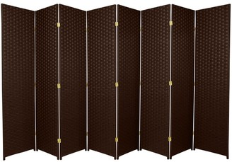 Oriental Furniture Handmade 6' 8-Panel Dark Mocha Woven Fiber Room Divider