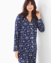 Soma Intimates Long Sleeve Notch Collar Pajama Top Alpine Stitch Navy