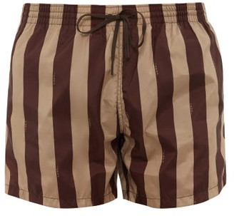 Fendi Logo-print Striped Swim Shorts - Black Beige