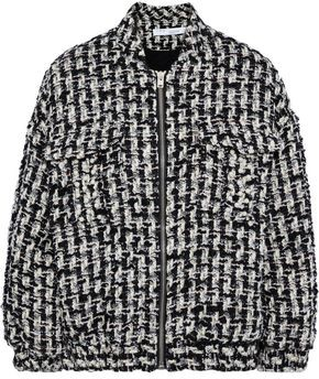 IRO Switch Faux Pearl-embellished Metallic Boucle-tweed Bomber Jacket