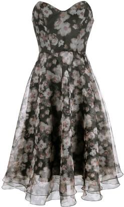 Elisabetta Franchi Strapless Floral-Print Dress