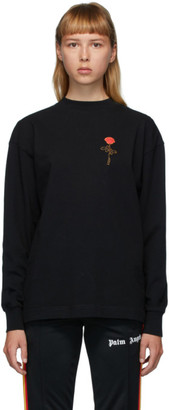 Palm Angels Black Rose Long Sleeve T-Shirt