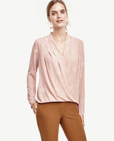 Ann Taylor Dotted Silky Wrap Blouse