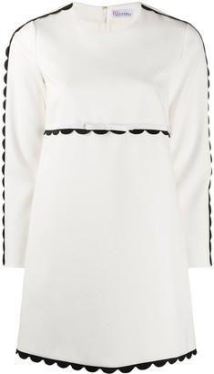 RED Valentino Scalloped Trim Long-Sleeve Dress