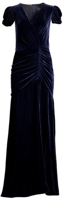 Shoshanna Brianna Ruched Silk-Velvet Column Dress