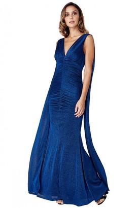 Goddiva Angel Wing Maxi Dress - Royal Blue