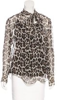 Les Copains Abstract Print Silk Top