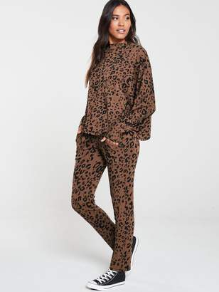 Very Animal Print Slim Leg Snit Joggers Co Ord - Brown