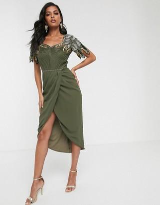 Virgos Lounge drape front midi dress with shoulder detail in khaki