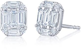 Kwiat Kwait Baguette Sunburst Diamond Stud Earrings