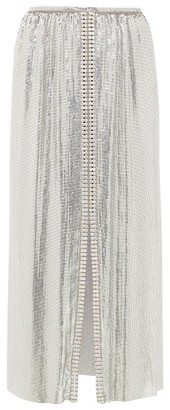 Paco Rabanne Crystal-embellished Chainmail Midi Skirt - Womens - Silver