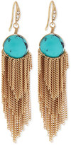 Lydell NYC Golden Turquoise-Bead Fringe Drop Earrings, Blue
