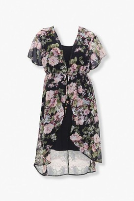Forever 21 Plus Size Floral Kimono Tank Dress Set