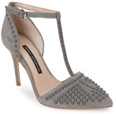 French Connection Grey Elanah Studded Pointed Toe T-Strap Pumps