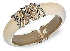Alexis Bittar Women's 10K Gold & Rhodium-Plated Crystal Bamboo Hinge Cuff Bracelet